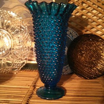 Blue Hobnail footed Vase