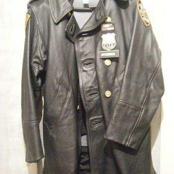 NYPD Mounted Police Leather Coat - Mens Clothing