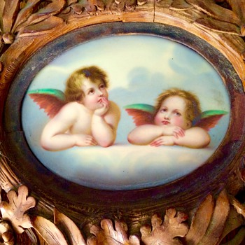 Antique Meissen Porcelain Cherub Wings Carved Wood Picture Frame Help - Art Pottery
