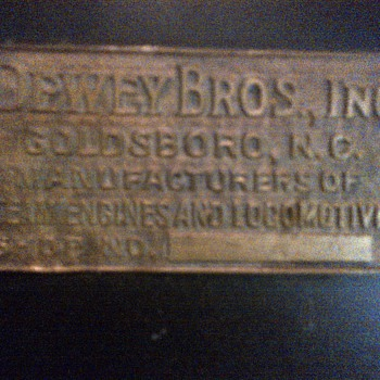 "The ""DEWEY "" Boiler plate - Railroadiana"