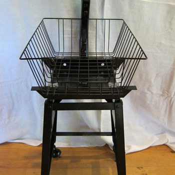Vintage Industrial Basket Stool