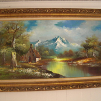 Vintage G.Whitman Beautiful Landscape Oil Painting - Folk Art