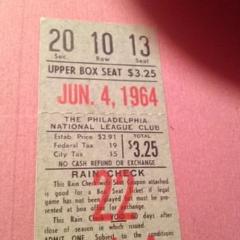 sandy koufax 3rd no hitter ticket stub