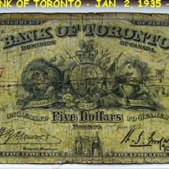THE BANK OF TORONTO ( 1935 ) Five dollars