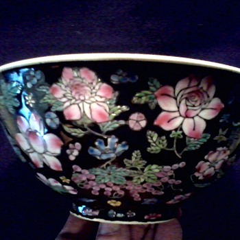 "Beautiful 8"" Chinese ""Famille Noire"" Bowl / Floral Design on Black Background/Circa 20th Century  - China and Dinnerware"