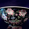 "Beautiful 8"" Chinese ""Famille Noire"" Bowl / Floral Design on Black Background/Circa 20th Century"