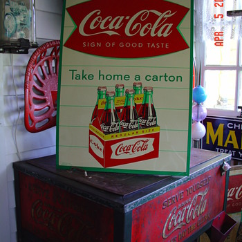 1959...Coca-Cola Sidewalk Six Pack Regular Size...Take Home A Carton...Sign Of Good Taste - Coca-Cola