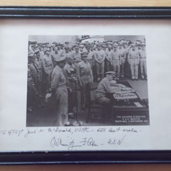 CHESTER W. NIMITZ autographed JAPANESE SURRENDER PHOTO on USS MISSOURI  - Photographs