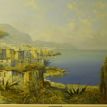 Oil on Canvas, City shore line(Greece??)-Josef Kugler-German, Circa 1950-70 - Visual Art