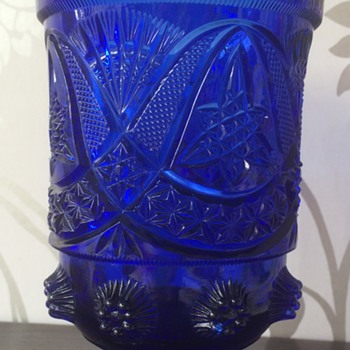 "17cm 7"" x 11cm 4.25"" Blue Brockwitz Curved Star Celery Vase - No Irridescence - eye catching nevertheless :)"