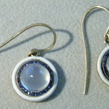 Antique Deco Ceylon Moonstone Sapphire Enamel 14k Earrings