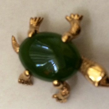 Gold and Jade Turtle Pin