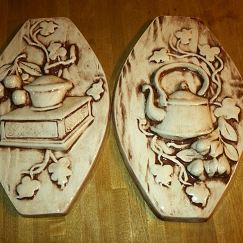 Vintage Ceramic wall art for kitchen - Teapot and Coffee Grinder - Art Pottery