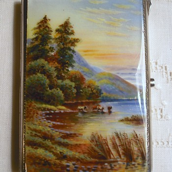 My favorite cigarette case, sterling & guilloche enamel scene - Tobacciana