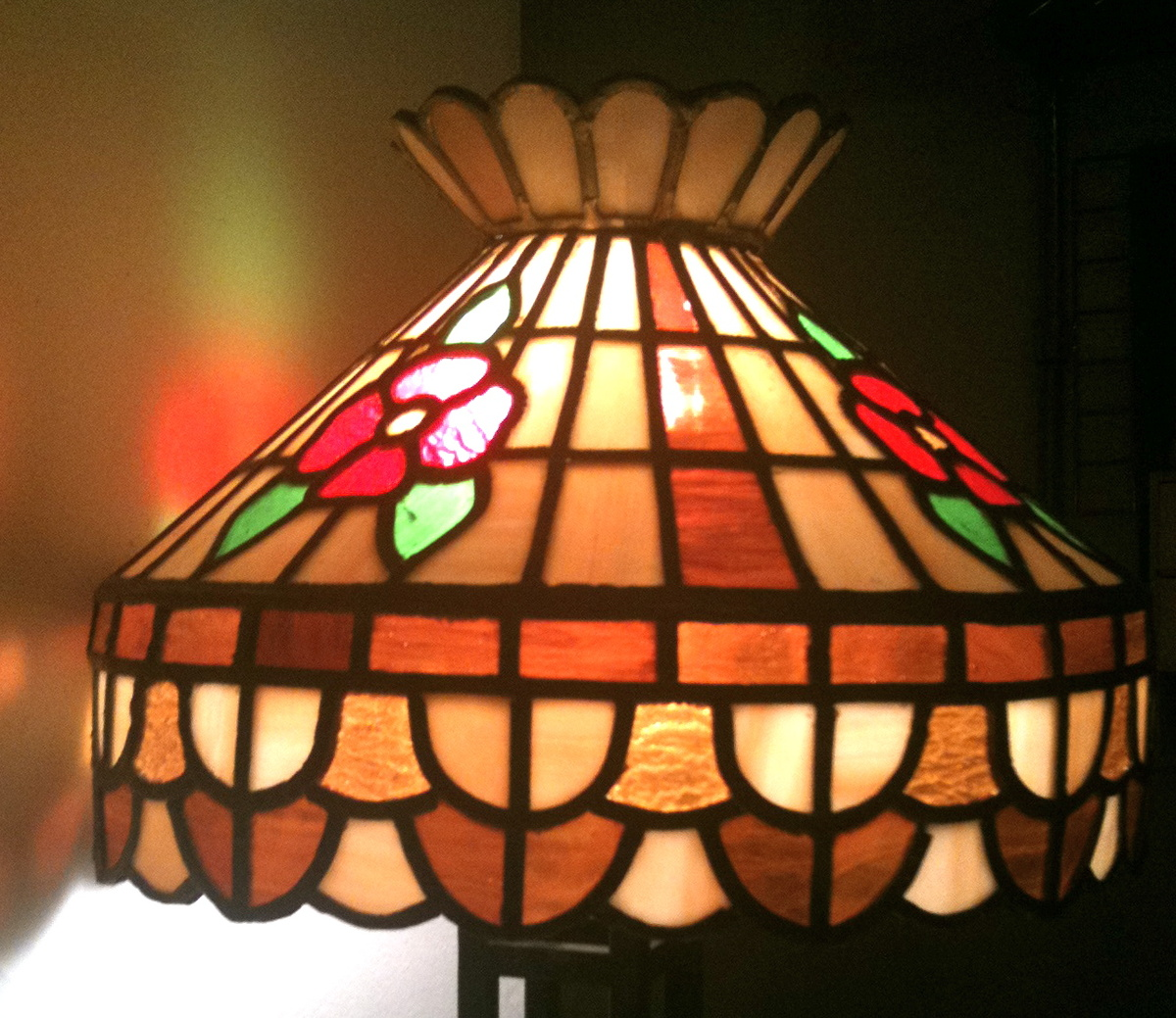 Stained glass chandelier antique or homemade last month