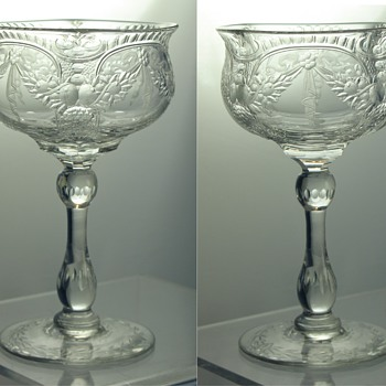 Thomas Webb Rock Crystal (style?) Cut Goblet Circa 1936 - 1949.  Designer / Artist? - Art Glass