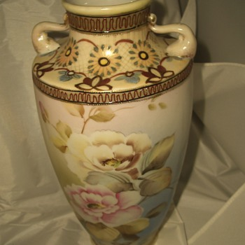 Very Unusual Handled Nippon Vase Urn - China and Dinnerware