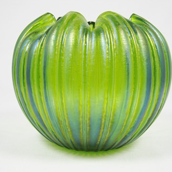 Rindskopf or Kralik Art Glass Green Iridescent Ribbed Rose Bowl Bohemian ca. 1900