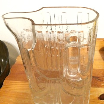 Heavy Art Deco Patterned Glass Pitcher - Glassware