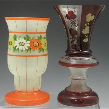Two Bohemian/Czech Vases  - Art Glass