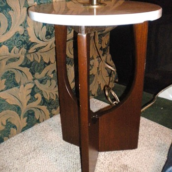 Danish Style lamp table with marble top - Mid-Century Modern