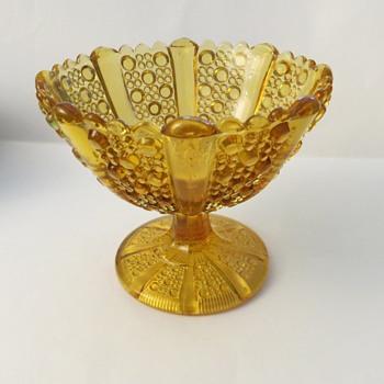 Davidson Pressed Glass Amber Compot - Glassware