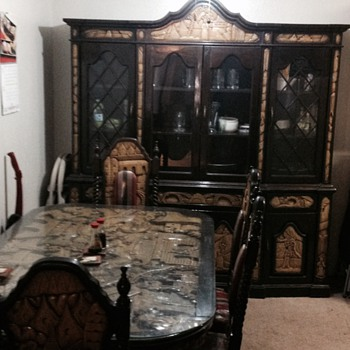 Antique Asian Hand Carved Table, Chairs, & Hutch - Help Finding info