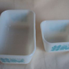 2 VINTAGE PYREX AMISH BUTTERPRINT TURQUOISE PRINT REFRIDGERATOR DISHES