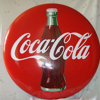 "48 "" Coca Cola Porcelain Button Sign - Signs"
