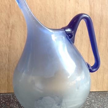 Blue glass jug