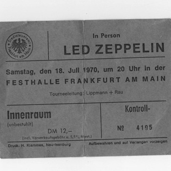 1970 Led Zepplin concert ticket from Festhalle Frankfurt Am Main, Germany