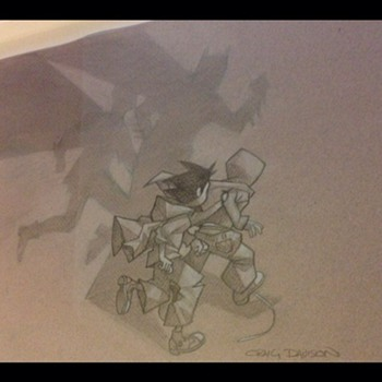 "Craig Davison original sketch of the ""caped crusaders"""