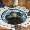 Portrait glass victorian milk glass plate with cherub puttis