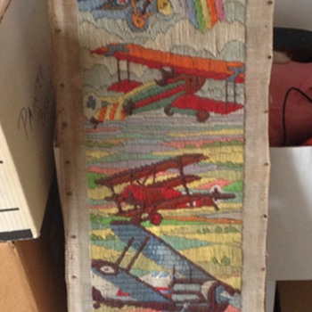 Vintage Air Plane Yarn Embriodery Art Piece - Sewing