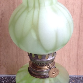 Green spatter glass oil lamp