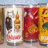 Coca Cola Glasses with around the world paintings on them