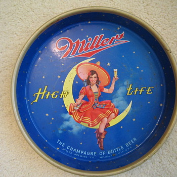 1950's Miller High Life Girl On The Moon Beer Tray - Breweriana