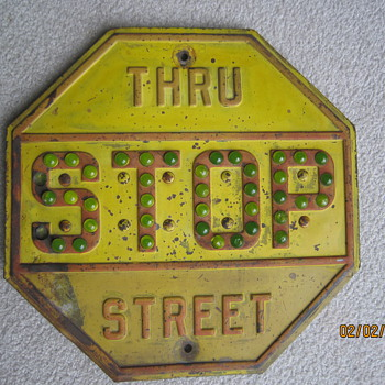 Late 1930's to 1940's Antique Steel Cats Eye Glass Marble Stop Thru Street Sign - Signs