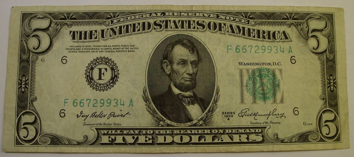 5 Silver Certificate Amp Federal Reserve Notes 1934 Amp 1950