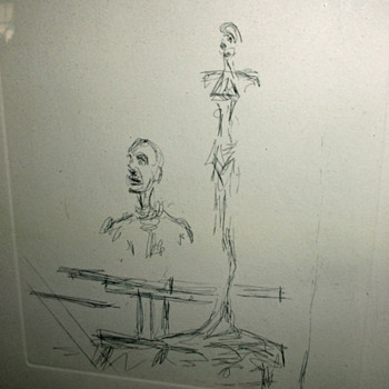 Unsigned Alberto Giacometti style etching with COA dated 1966