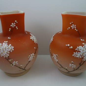 Early Loetz (Alpenrot) Enameled Vases, mirrored pair, ca. 1893