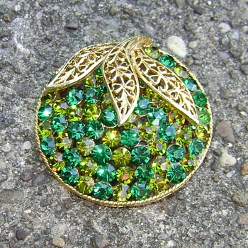 Two Tone Green Rhinestone Brooch - Costume Jewelry