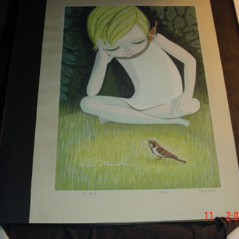 Signed and numbered print Elf and birds 1972