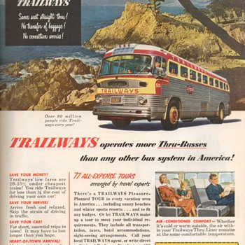 1952 - Trailways Bus Advertisements - Advertising