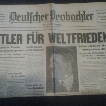 "1935 ""Hitler For World Peace"" Newspaper - Paper"