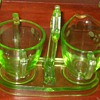 Green Depression Glass etched Cream and Sugar Caddy
