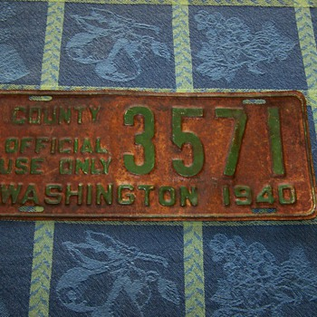 "1940 Washington State ""County Official Use Only"" License Plate - Signs"