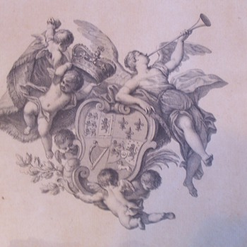 1780 bookplate large King George III  by Bartolozzi - Books