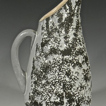 MODERNIST Matte and Crawl Glazed Pottery Pitcher
