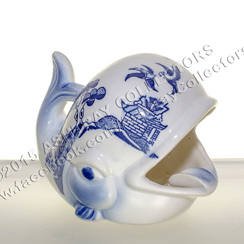 Blue & White Oriental Whale Ashtray - Tobacciana